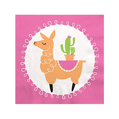 Whole Llama Fun - Llama Fiesta Baby Shower or Birthday Party Cocktail Beverage Napkins - 16 Count