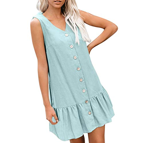 iYYVV Womens Fashion Sleeveless Button Pocket Solid Ruffle Loose Summer Mini Dress Light Blue ()