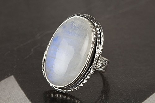 Blue Moonstone Ring (Rainbow Moonstone Ring, 925 Sterling Silver, Blue Fire Ring, Oval Shape Ring, Boho Jewelry, Silver Bezel Ring, Birthday Gift, Statement Ring, Engagement Ring, Unique Jewelry, Gift For Her)