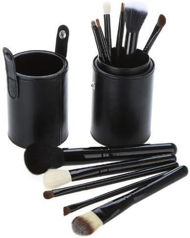 Copa De Cuero Negro Set De 12 Maquillaje Pinceles - Pelo De Cabra/Pony/Sintético, Virola De Aluminio, Mango De Madera Natural by ARTUROLUDWIG: Amazon.es: Belleza