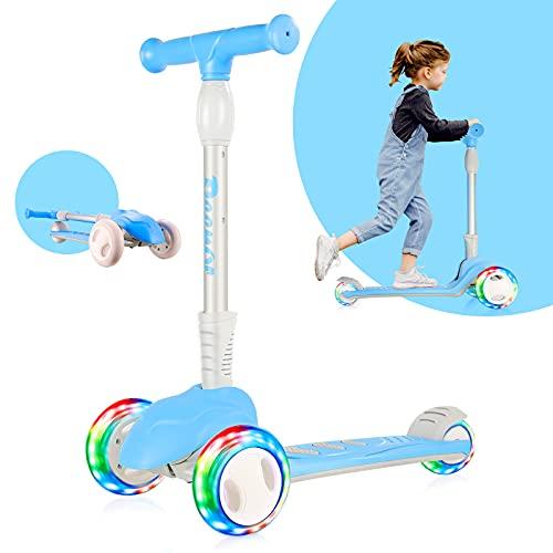 Micro Scooter para niños de 3 a 12 años, Mini Scooters deportivos con 3 ruedas de poliuretano intermitentes, 3 Altura ajustable, Marco plegable de aleación de aluminio, Scooter para niños pequeños para niños / niñas, Azul