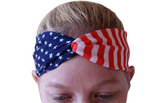 Art Attack USA American Flag Headband, Stars & Stripes Workout Yoga Bandana (Modern USA)