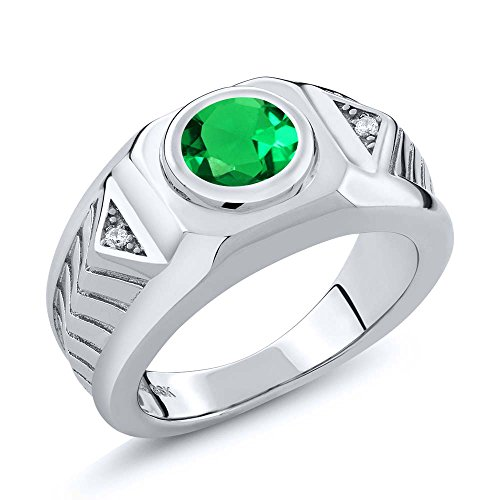 Emerald Sterling Silver Mens Bands - 1.68 Ct Round Green Simulated Emerald 925 Sterling Silver Men's Ring (Size 10)