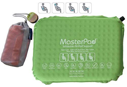 Master Pad Lumbar Support Self-Inflatable Pillow Travel, Home Office. This Back Relief - Cushion is Lightweight, Rolls up is Portable Easy Carrying. Padded. Cotton Feel. (Apple Green) by Master Pad