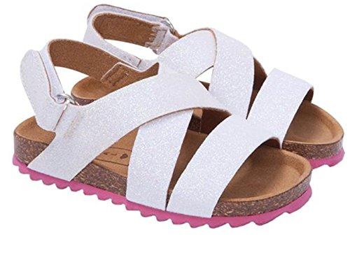 Mayoral 43780 - Sandalias bio infantil niña glitter blanco con cierre de velcro
