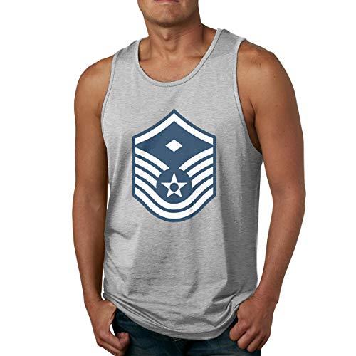 Men's Air Force Master Sergeant 1st SGT Diamond Rank Tank Tops Fitness T-Shirts Gray