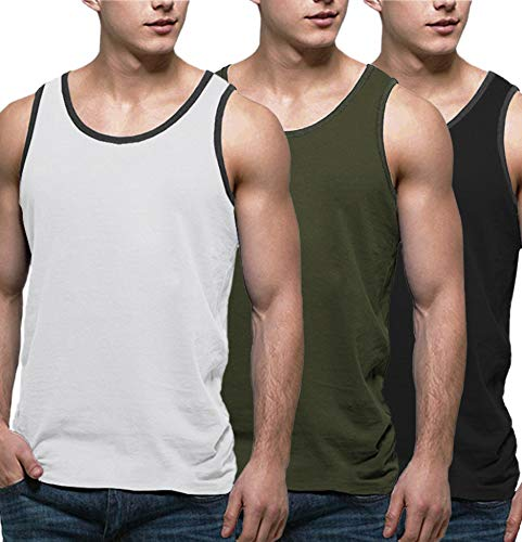 COOFANDY Men's 3 Pack Tank Tops Workout Gym Shirts Muscle Tee Bodybuilding Fitness Sleeveless T Shirts
