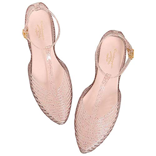 Yehopere Women's T-Strap Jelly Sandal Pointed Toe Clear Summer Beach Flat Sandals Light Pink ()