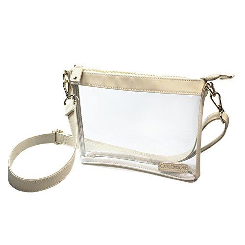 (Capri Designs Clear Premium Stadium Approved Small Crossbody Bag (Tan))