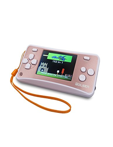 "WOLSEN@ 2.5"" LCD Portable Handheld Video Game Console w/Speaker (Rose Gold+ White) (3 X AAA) w/152 in 1 Games"