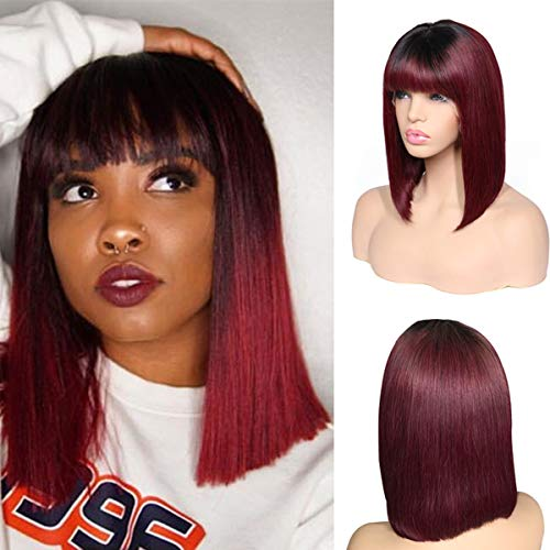 (BESFOR 1B/99J Dark Roots Straight Bob Wigs for Black Women Free Part Glueless Lace Front Wig with Bangs Two Tone Ombre Color 100% Human Hair with Baby Hair 14inch)
