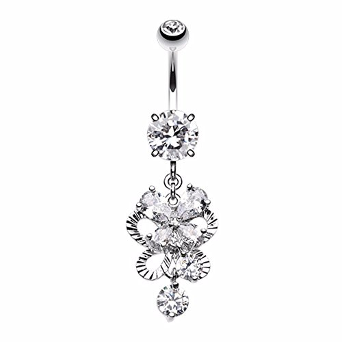 Exuberant Chandelier Belly Button Ring (14 GA, Length: 10mm, Clear)