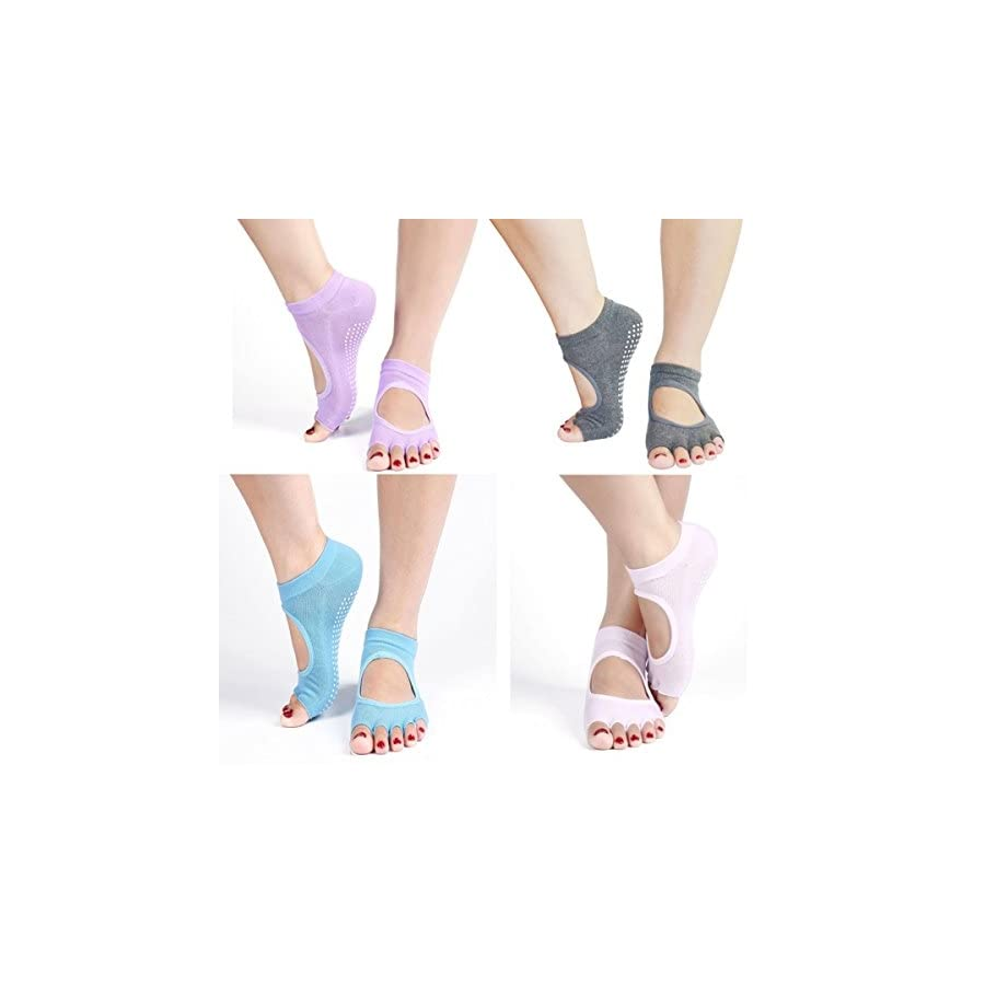 Dr.Koyama Half Toe Yoga Pilates Socks ( 6 Color Pairs ) Toe Separator Non Slip Skid with Grips for Women
