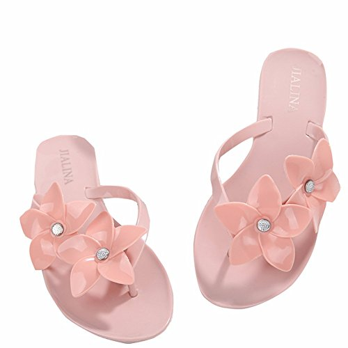 Plat Femmes Sandales pour en À Plastique Pink Fond Toe Chaussons YUCH qzTwIEx