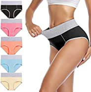 wirarpa Women's Cotton Underwear High Waist Panties Ladies Breathable Briefs Lovely Underpants Multicolore