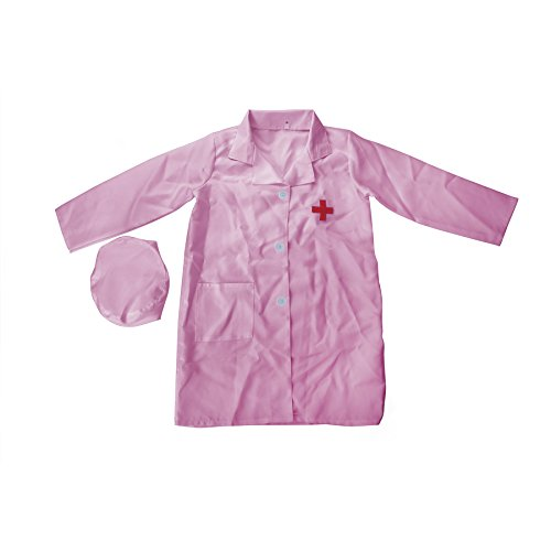 TopTie Kid's Lab Coat with Cap, For Kid Scientists or Doctors PINK-1012 (Halloween Costume 1012)