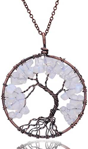 Sedmart Tree of life pendant Amethyst Rose Crystal Necklace Gemstone Chakra Jewelry Mothers Day Gifts