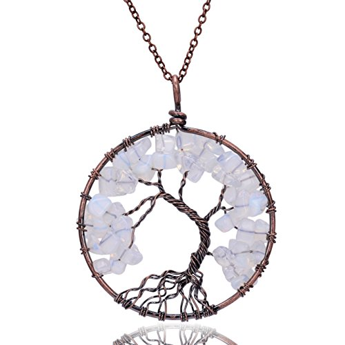 Opal jewelry amazon root family healing tree of life opal crystal pendant antique chain gemstone necklace semi precious natural raw birth stone wire wrapped tree of life aloadofball Images