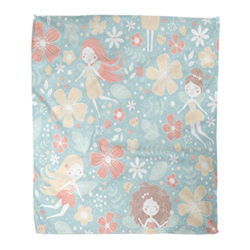 Emvency Throw Blanket Warm Cozy Print Flannel Red Fairy Floral Pattern Cute Fairies Pixie Princess Comfortable Soft for Bed Sofa and Couch 50x60 Inches]()