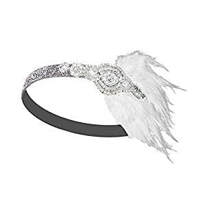 Vintage Black Feather Silver 20s Bridal headpiece 1920s Flapper Great Gatsby Headband (Silver and White)