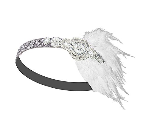 Vintage Black Feather Silver 20s Bridal headpiece 1920s Flapper Great Gatsby Headband (Silver and (Hairstyles Of The 20s)