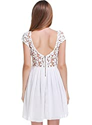 SheIn Women's Short Sleeve Hollow Floral Crochet Pleated White Dress