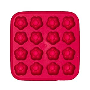 2Pcs Safe And Soft Silicon Ice Cube Tray Plum Flower Shape, Red