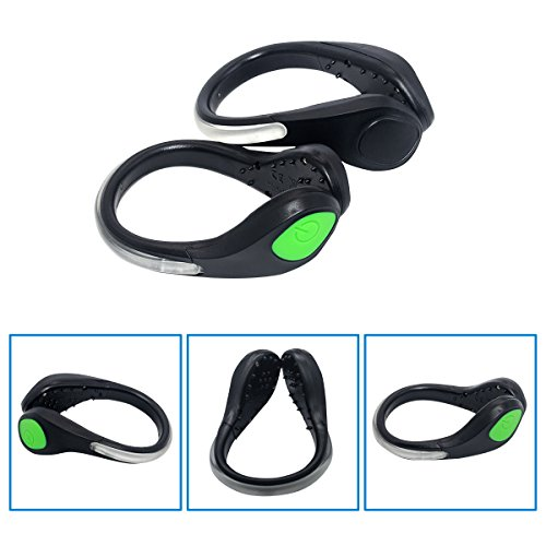 TEQIN Black Shell Green LED Flash Shoe Safety Clip Lights for Runners & Night Running Gear - Reflective Running Gear for Running, Jogging, Walking, Spinning or Biking + Velvet Bag - (Set of 2) by TEQIN (Image #1)