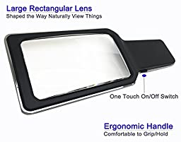 MagniPros 3X Large Wide Horizontal Handheld Magnifying Glass with 4 Ultra Bright Built-in LED Lights & 2 Adjustable Brightness Levels