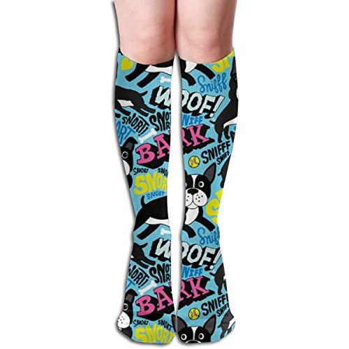 (Unisex Mid High Football Team Socks Athletic Tube Sock Boston Terrier Pop Art)