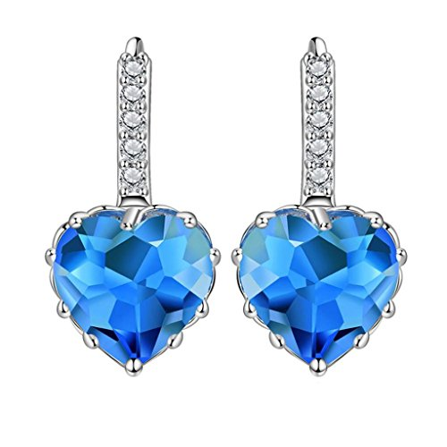 Blue Moon Crystal - Jiayit Crystals Earrings Studs for Women Girls Teens, Clearance Sale! Heart Shaped Zircon Inlaid Earrings Love Ear Studs Ornament Jewellery (Blue)