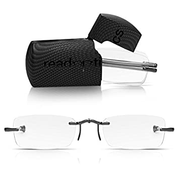 3badf3bdb4 Read Optics Rimless Pocket Glasses in Travel Case  Patented Folding Ready  Readers with Telescopic Arms