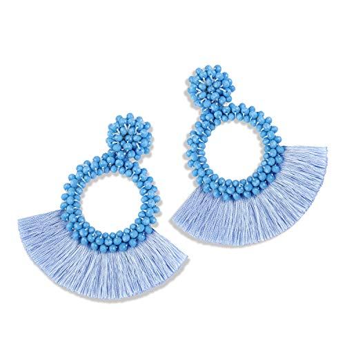 - Statement Tassel Bead Earrings for Women, Drop Dangle Round Beaded Hoop Fringe Bohemian Earrings Women Girl Novelty Fashion Summer Accessories - E1 Light Sky Blue