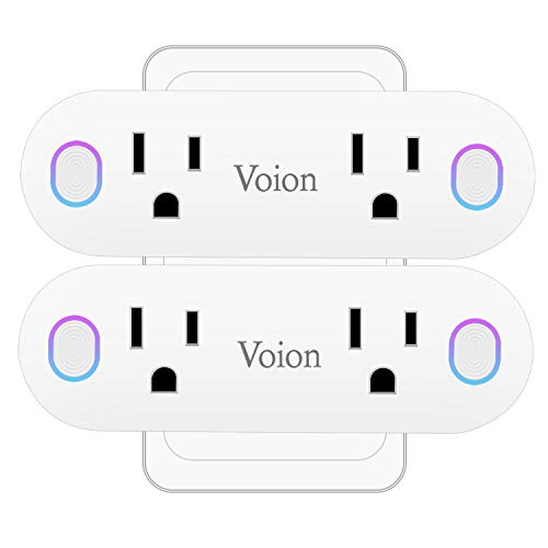 Smart Wi-Fi Plug – Voion Wireless Mini WiFi Dual Outlet, Power Monitoring Voice Control Timer Function Electrical Socket, Compatible with Alexa, Google Home and IFTTT, No Hub Required, 16A 2 Pack