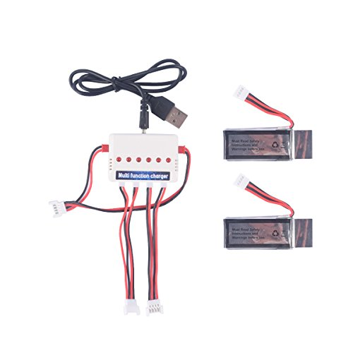 YouCute 2pcs 350mAh Battery and 1to3 Charger for UDI U818A WiFi FPV UDI U845 RC Quadcopter Drone Spare Parts