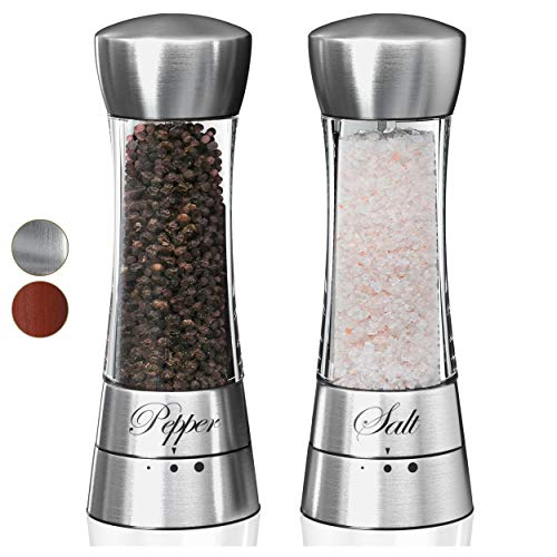 (Premium Salt and Pepper Grinder Set. Grinding Shakers Present Set. Perfect Gift Idea for Wedding, Housewarming, Anniversary, Engagement, Birthday. (Clear))