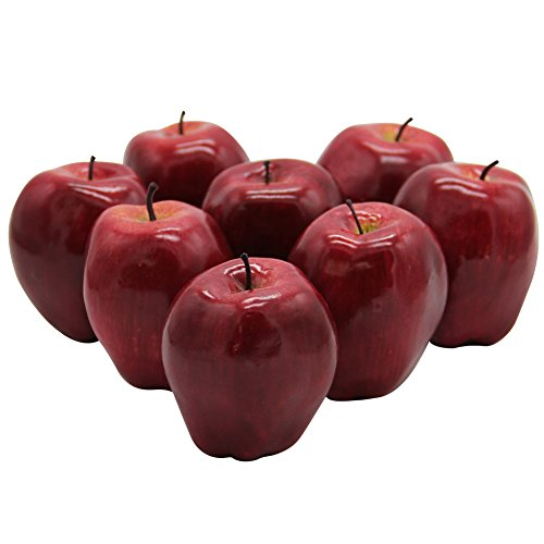 YOFIT Artificial Lifelike Simulation Apples 8 Pcs, Decorative Red Fruit for Home House Kitchen Party Decoration (Red)