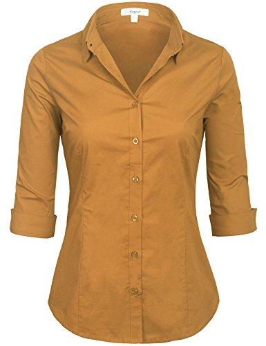KOGMO Womens Classic Solid 3/4 Sleeve Button Down Blouse Dress Shirt - Woven Dress Cotton