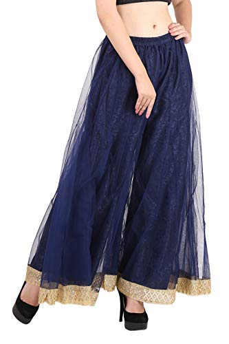 (Shararat Women's Palazzo Pants Net Loose Flared High Waist Sharara Trouser)