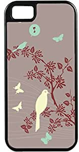 iPhone 5 5S Cases Customized Gifts Cover Grey background with artistic bird perched on tree amid fluttering butterflies Case for iPhone 5 5S