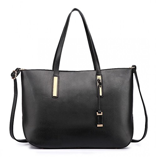 Damen Handtasche Shopper Damentasche Tragetasche Schultertasche XXL Groß (Schwarz) Schwarz - 3 in 1 d3Rx1Hl