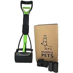 """MOMOPETS Complete Clean Up Set, Foldable 24"""" Pooper Scooper, Poop Bags and Bone Shape Waste Bag Holder Green"""
