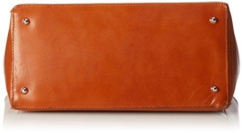Orange Pour Vrai Haute Sac En Chicca Moda De cuoio Italienne Peau Fèmmès 100 Tutto Ctm 40x28x18cm nT40x6R