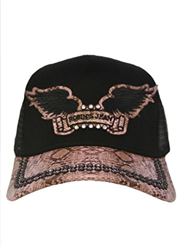 """Cap Twill """"Snake"""" Black And Pink With Crystals"""