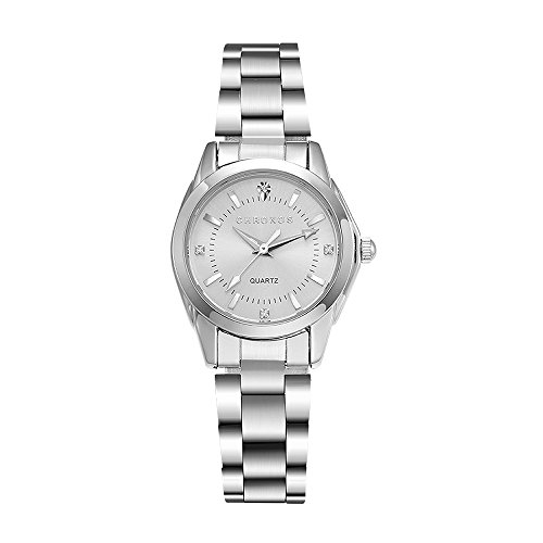 Chronos Women Girls Silver Stainless Steel Quartz Waterproof Watch Round Analog Silver (Chrono Ladies Watch)