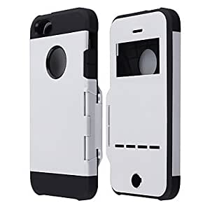 LCJ Protective PC Flip Armor Back Cover Case w/Visual Window,Magnetic Sliding Answer Call for iPhone 5/5S (Assorted Colors) , Black