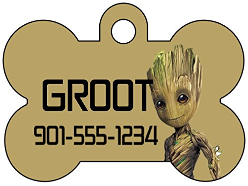 uDesignUSA Disney Guardians of the Galaxy Pet Id Dog Tag Personalized with Your Pet's Name & Number (Baby Groot)