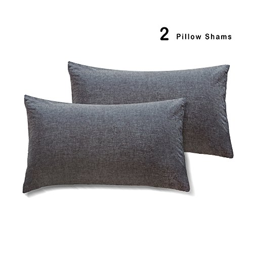MooMee Pillow Shams Pillow Covers Washed Cotton Soft Linen Like Fabric Dark Grey - Linen King Sham