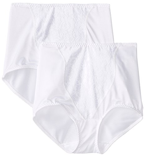 Bali Women's Shapewear Double Support Coordinate Brief with Lace Tummy Panel Light Control 2-Pack, White, X-Large