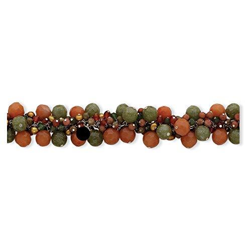 (Jewelry Bracelets Pearls Sterling Silver Carnelian/Jade/Unakite/Prehnite/FW Cult.Gold Pearl)
